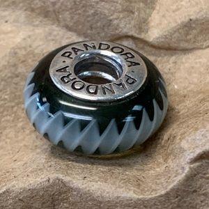 Jewelry - .925 PANDORA ALE Black ZigZag Murano Bead Charm